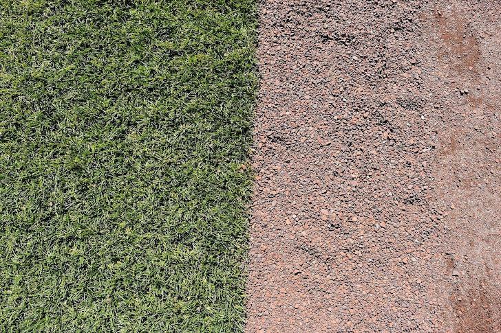 野球場の土と芝生
