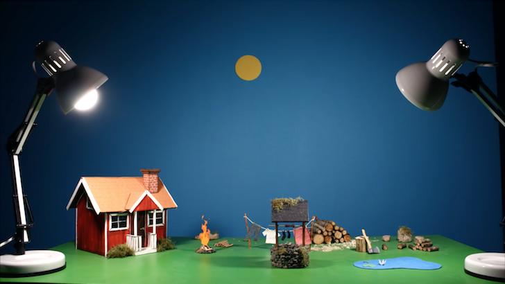 ストップモーションアニメーションで表現された魚釣り