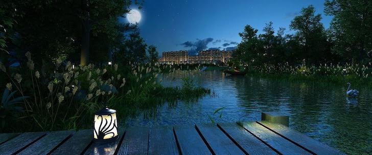 月夜に見える川向こうのビル