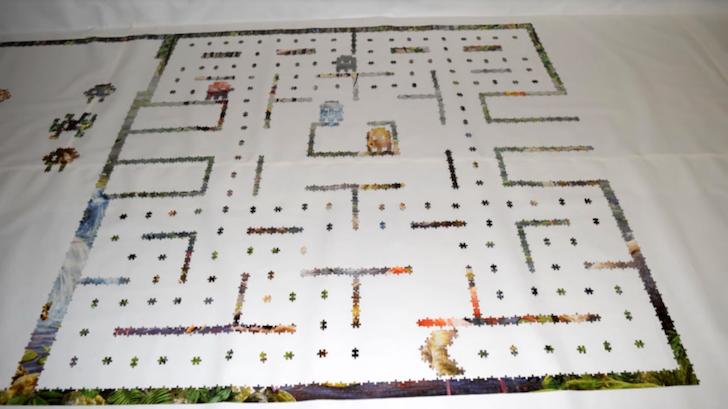 パズルのピースで模写されたパックマン