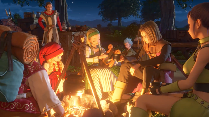 仲間とキャンプをする主人公