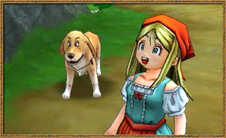 主人公を見送る幼なじみのエマと愛犬のルキ