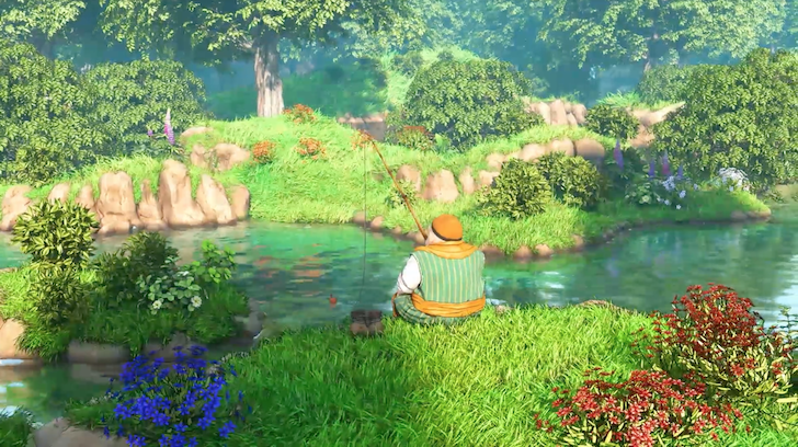 川で釣りをするテオ