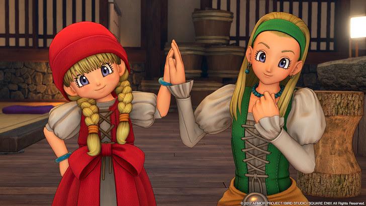 手と手を合わせる仲良しのベロニカとセーニャ