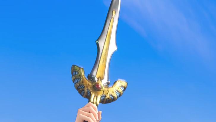 空に向かって突き上げられたロトの剣