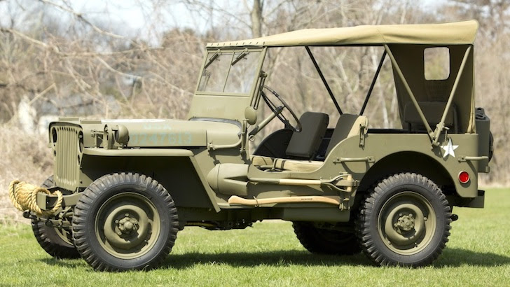 側方から見た1942年式の国防色のフォード・GPW