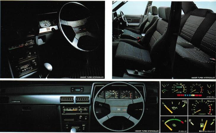 三菱・ランサーEXの黒色が基調の内装