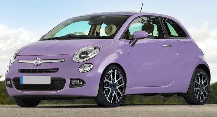 斜め前方から見た紫色の新型FIAT 500のデザイン予想