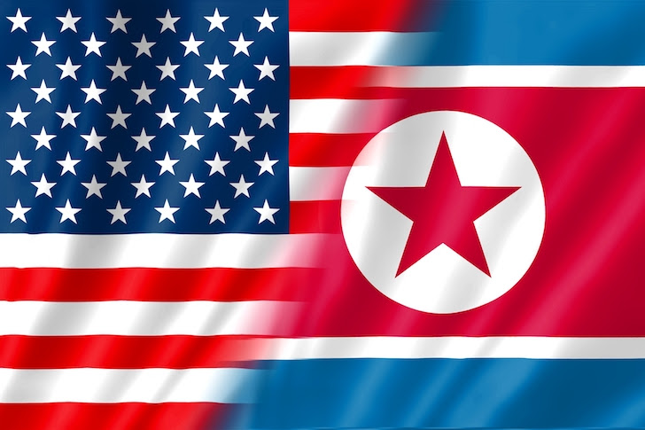 アメリカ合衆国と北朝鮮の国旗