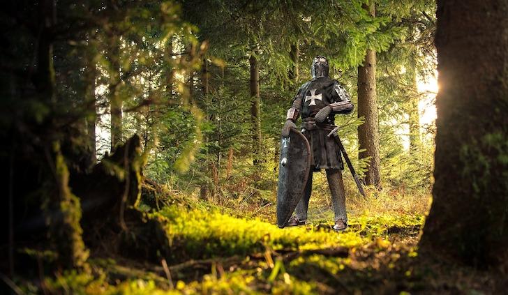 森の中にいる直立不動の騎士