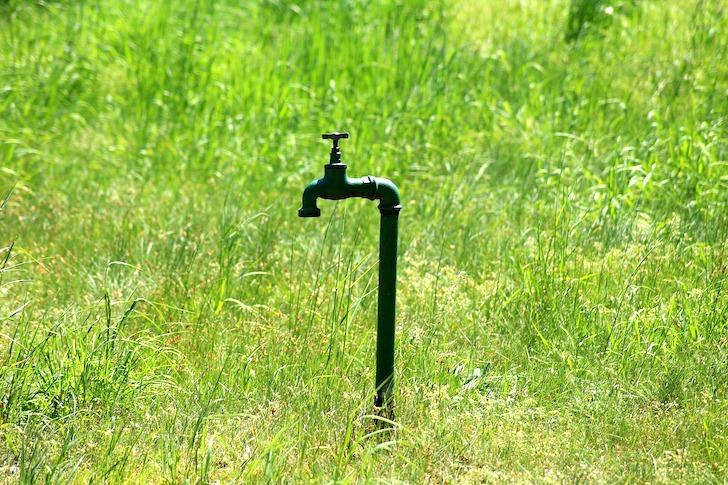 野原にぽつりと設置されている蛇口
