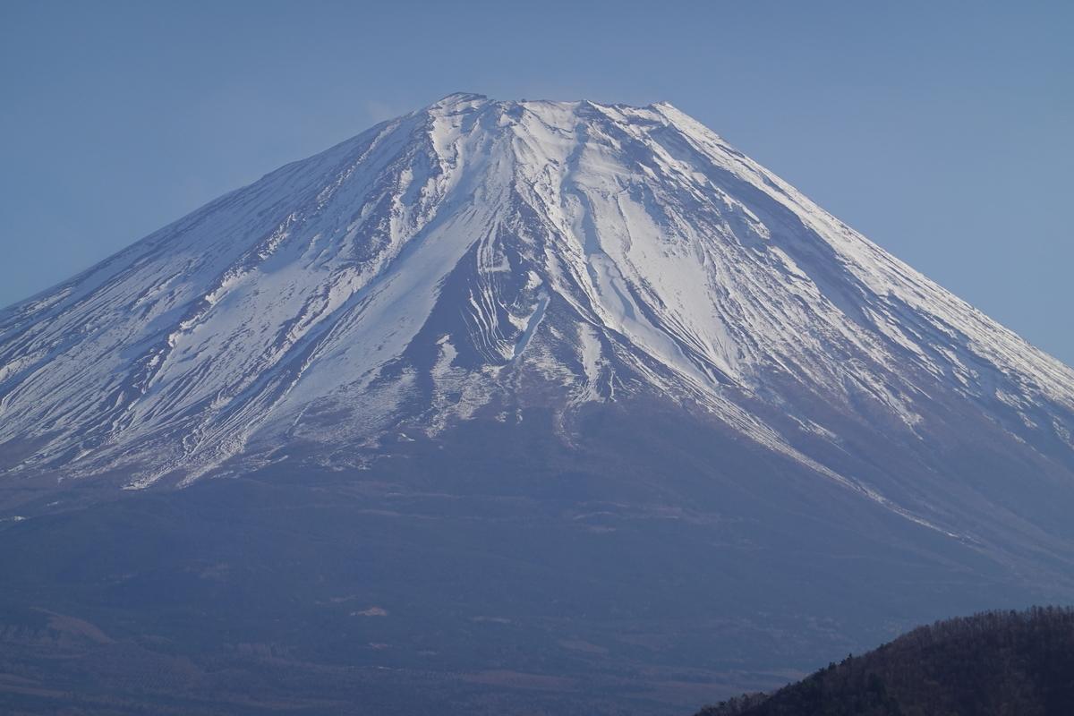 本栖湖の浩庵キャンプ場。富士山。8倍ズーム。