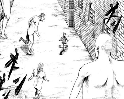 マンガ「進撃の巨人」(諫山創)の一コマです。巨人が数体、若い兵士ににじり寄っています。