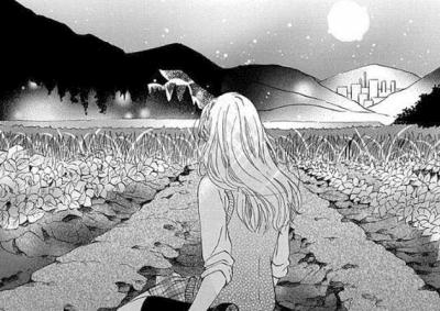 マンガ「原始人彼氏」(北福佳猫)の一コマです。月夜の晩、主人公の女子高生が地平に広がる畑と山々を眺めているバックショットです。