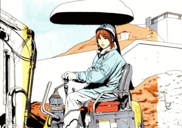 画像はKAWADEムック「総特集 江口寿史」より、週刊漫画アクション表紙に使われたイラストの一部です。ヘルメットをかぶった作業着姿の女の子が重機を操縦しています。