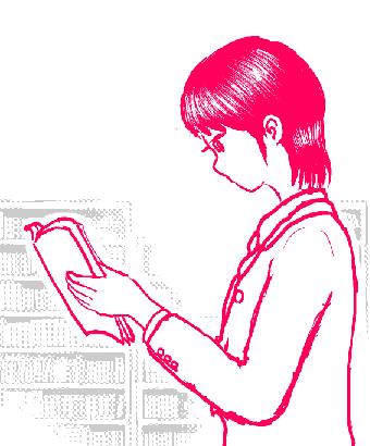 イラストは制服姿の町野藻萌が、書店内で立ち読みをしているところです。