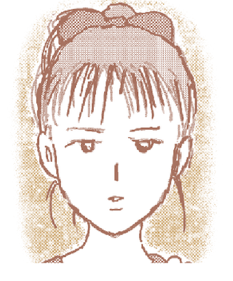イラストは「大福むすめ」より、ダイフクの奥さんが高校生の頃の顔のアップです。
