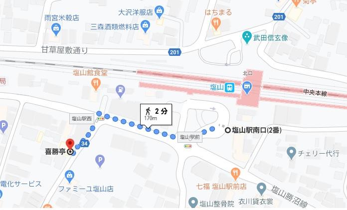 「喜勝亭」への行き方