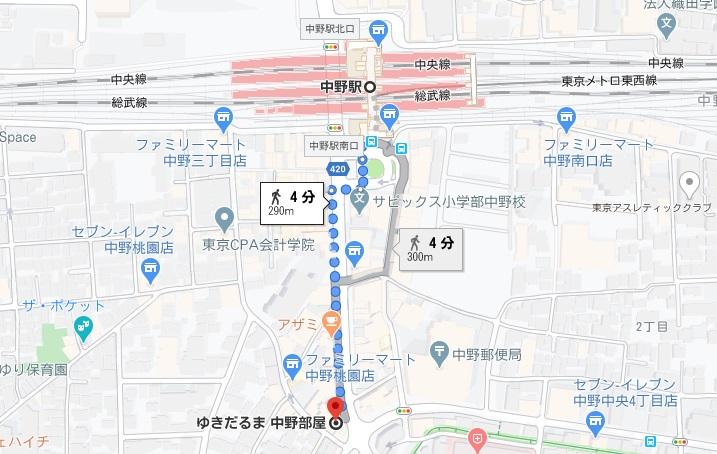 「ゆきだるま 中野部屋本店」への行き方