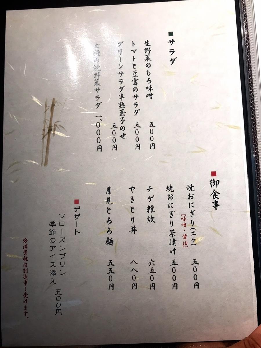 「吉祥寺 ばぁど家」のメニューと値段1