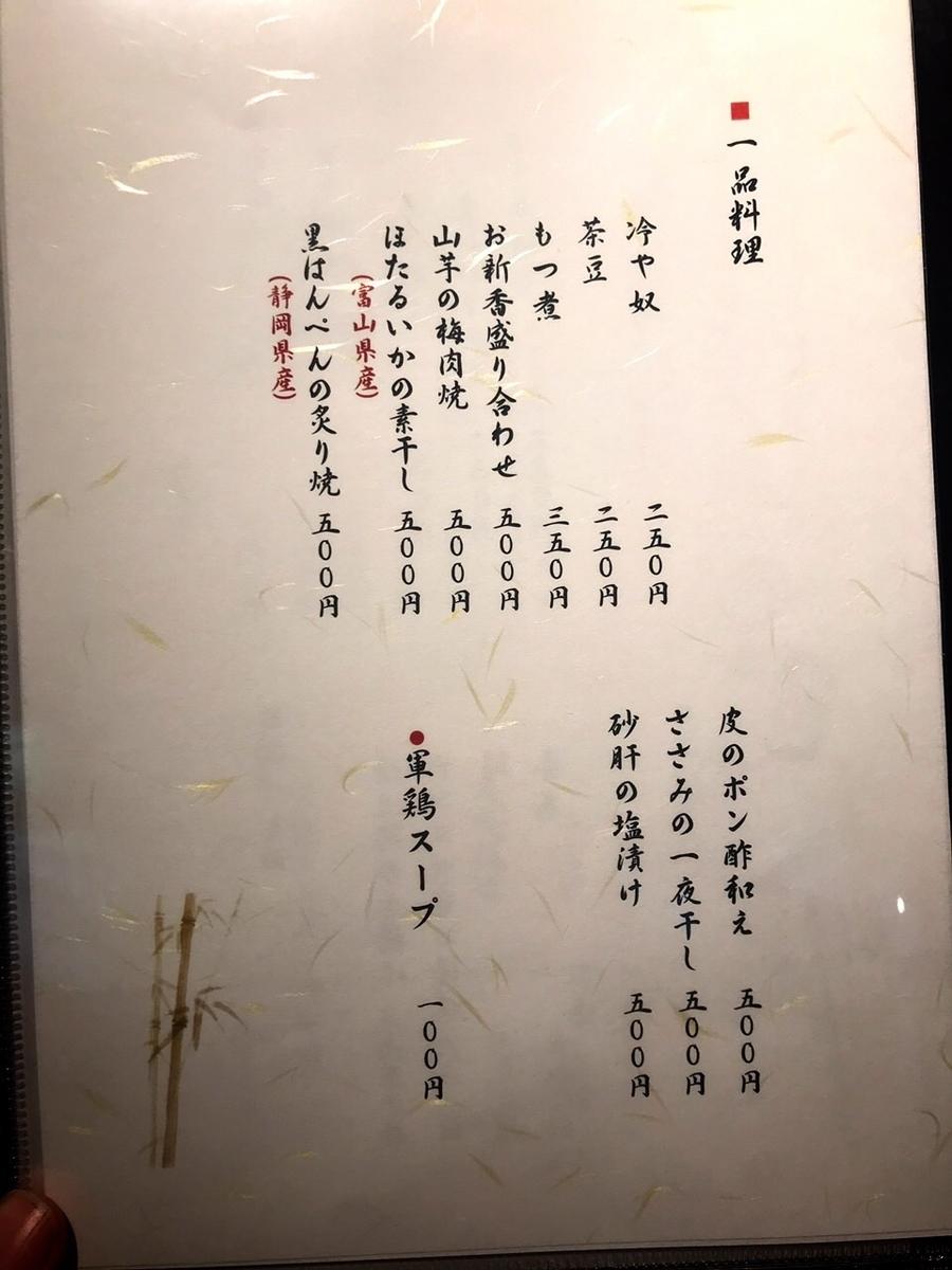 「吉祥寺 ばぁど家」のメニューと値段2