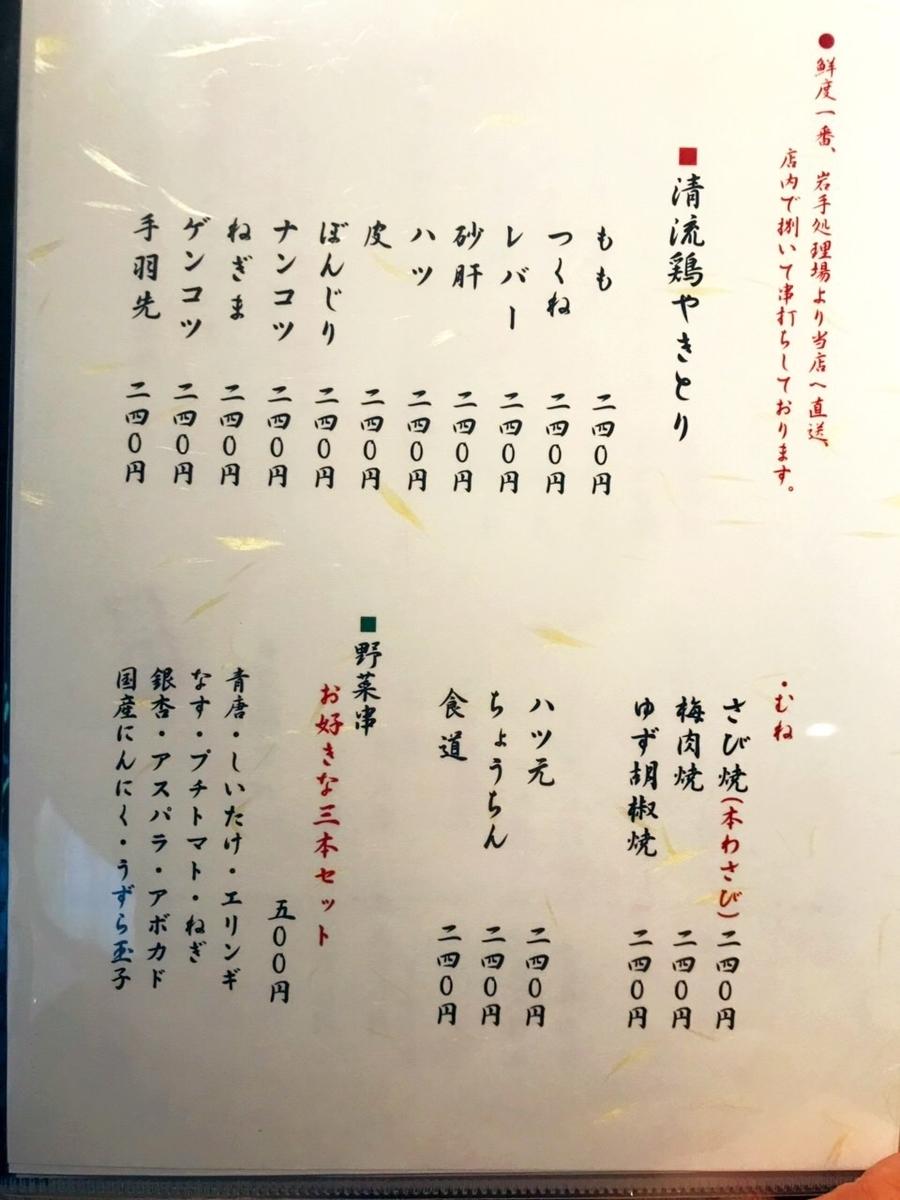 「吉祥寺 ばぁど家」のメニューと値段5