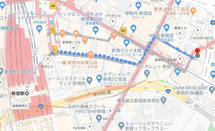「夜パフェ専門店 パフェテリアベル 新宿三丁目」への行き方と店舗情報