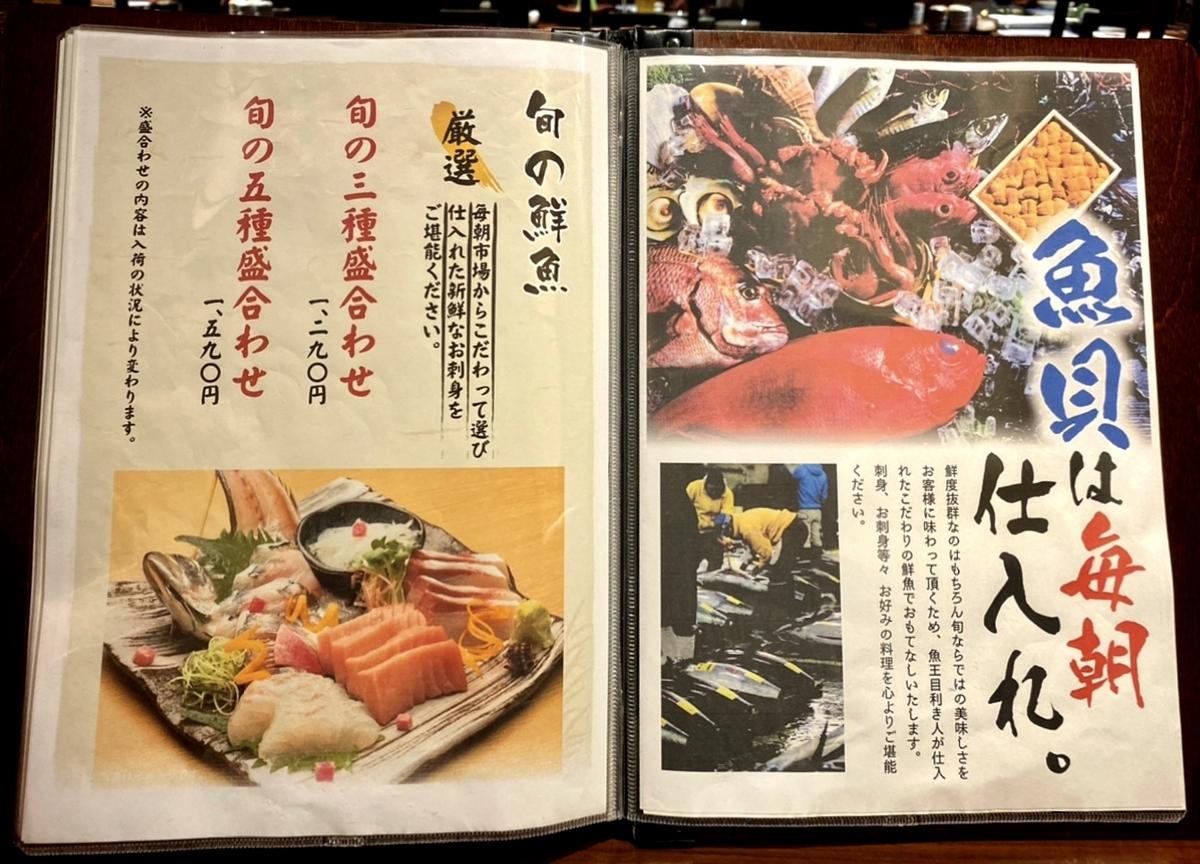 「魚王KUNI 吉祥寺」のメニューと値段5