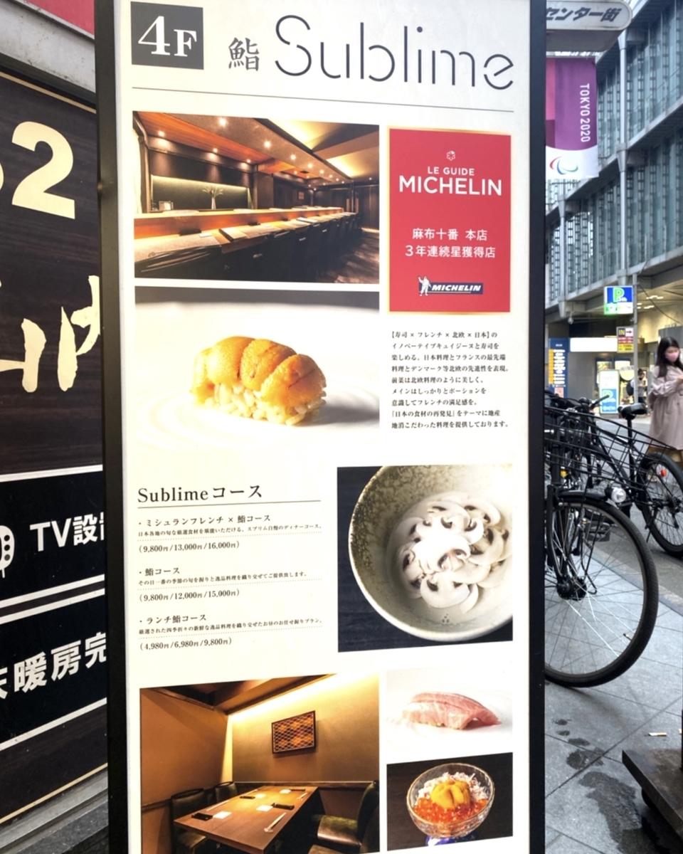 「渋谷 鮨 sublime」のメニューと値段
