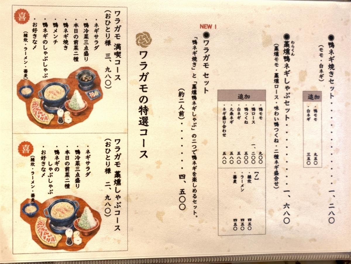 「ワラガモ 藁ウ鴨ニハ福来ル」のメニューと値段2