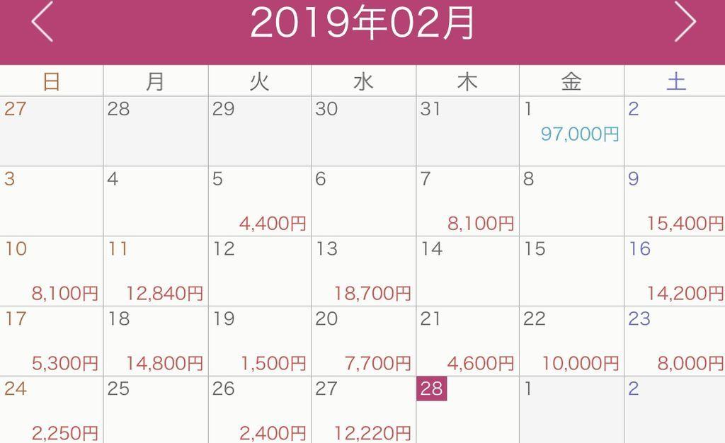 家計簿の公開カレンダー式