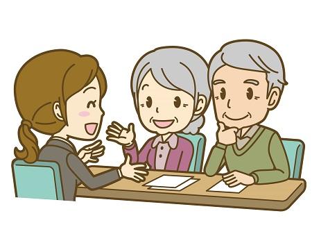 株エヴァンジェリストについて質問する老夫婦
