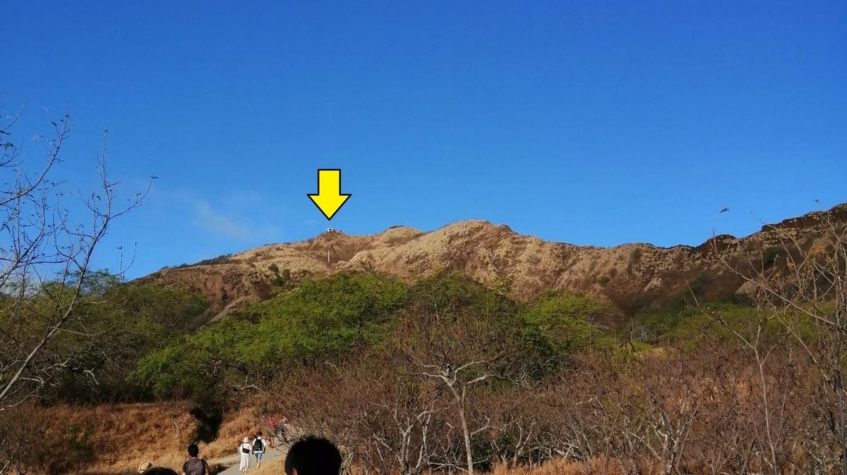 ダイヤモンドヘッド 登山道から見る頂上
