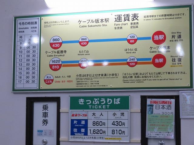 坂本ケーブルの運賃と時刻表