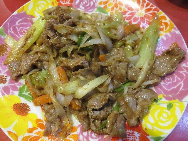 新橋の台湾料理「香味」の葱爆沙茶羊肉