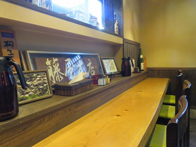 桐生市のうどん屋「藤屋本店」のカウンター