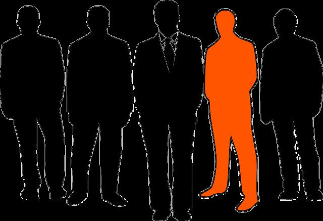スーツを着ている若い男性たちのシルエット