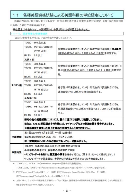 各種英語資格試験による英語科目の単位認定について