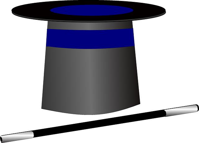 一発芸に使う帽子と杖のイメージ