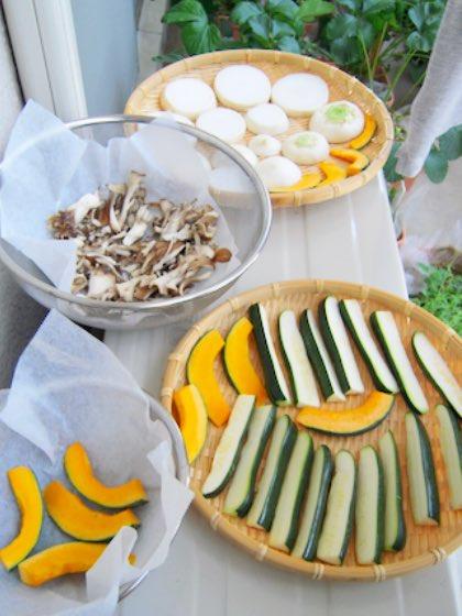 干し野菜、最初の頃はザルで作っていました
