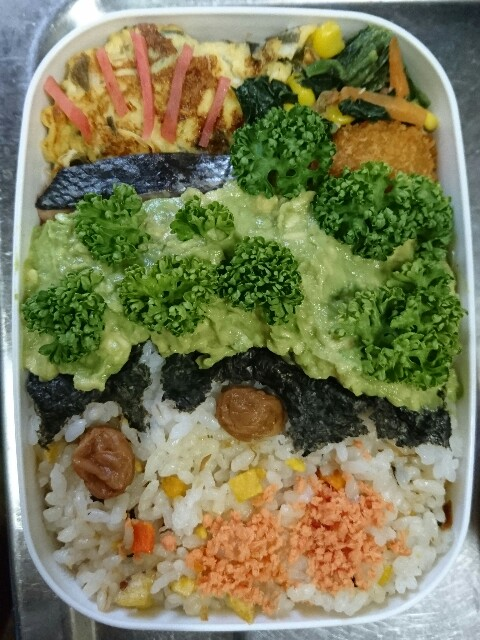 アボカドの海にのみこまれた鮭切り身がHELP!な夜勤用2段弁当