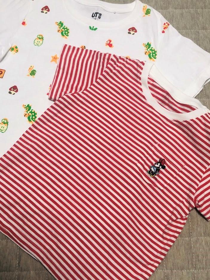 子ども達へユニクロでTシャツを購入(マリオ&ミニー)