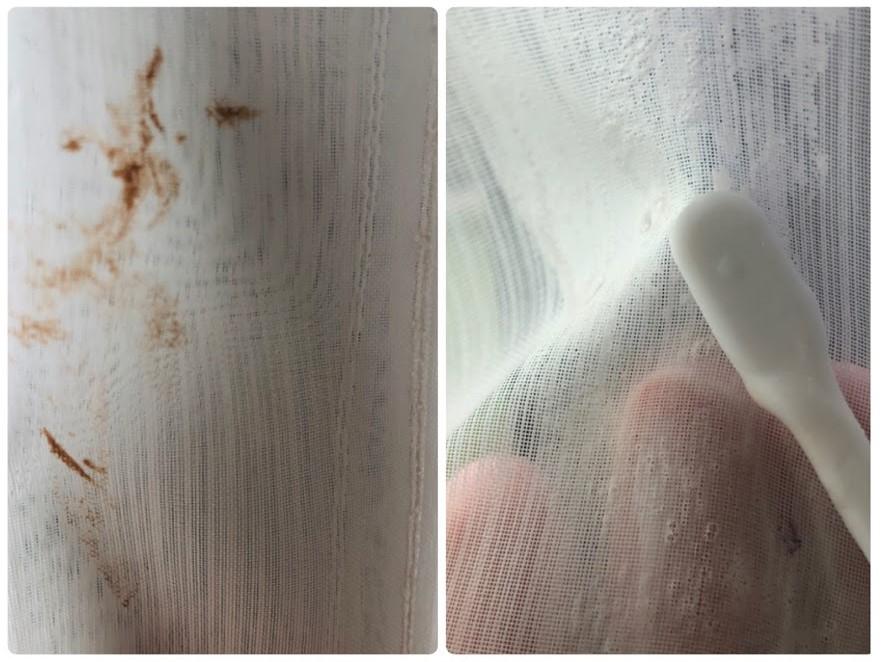 チョコレート汚れ?カーテンの部分汚れをウタマロ石鹸で落とす