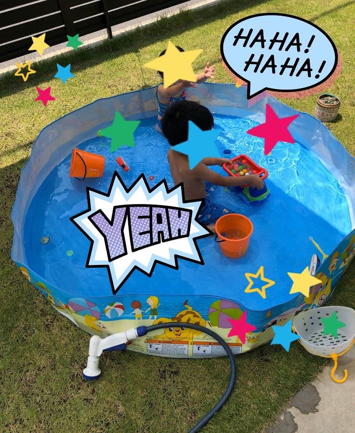 お庭で遊ぶビニールプールはINTEX(インテックス)スナッププール