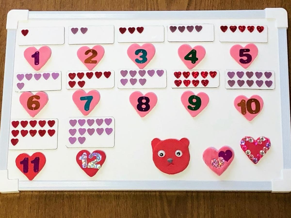手作り数字マグネットで数字盤*3歳の娘用にハートデザイン