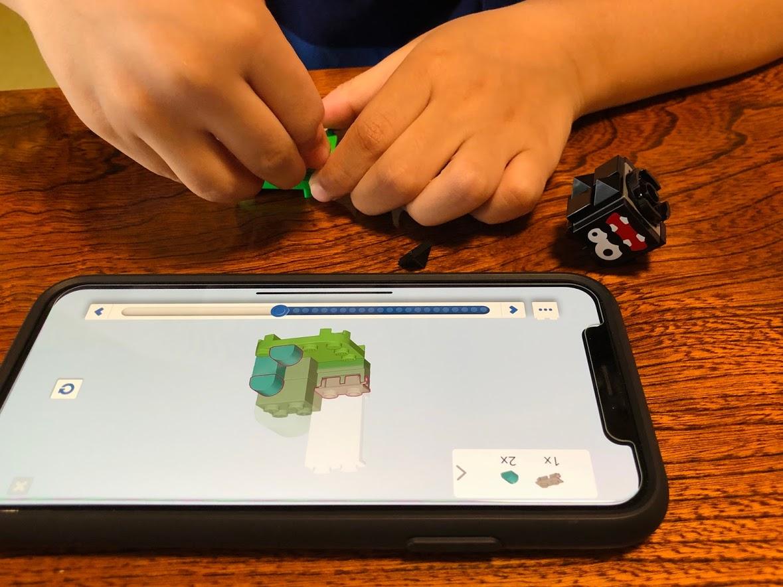 レゴマリオアプリを見ながら、組み立て「チョロボン」
