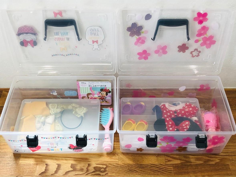 お人形(ソランちゃん、コルネちゃん、メルちゃん)収納BOXの小物ケースの(セリア)