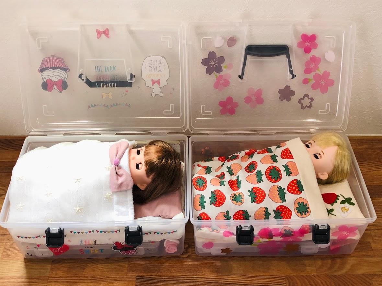 ソランちゃんとコルネちゃん、収納BOXに布団を入れベッド風に♪(メルちゃん収納にも)