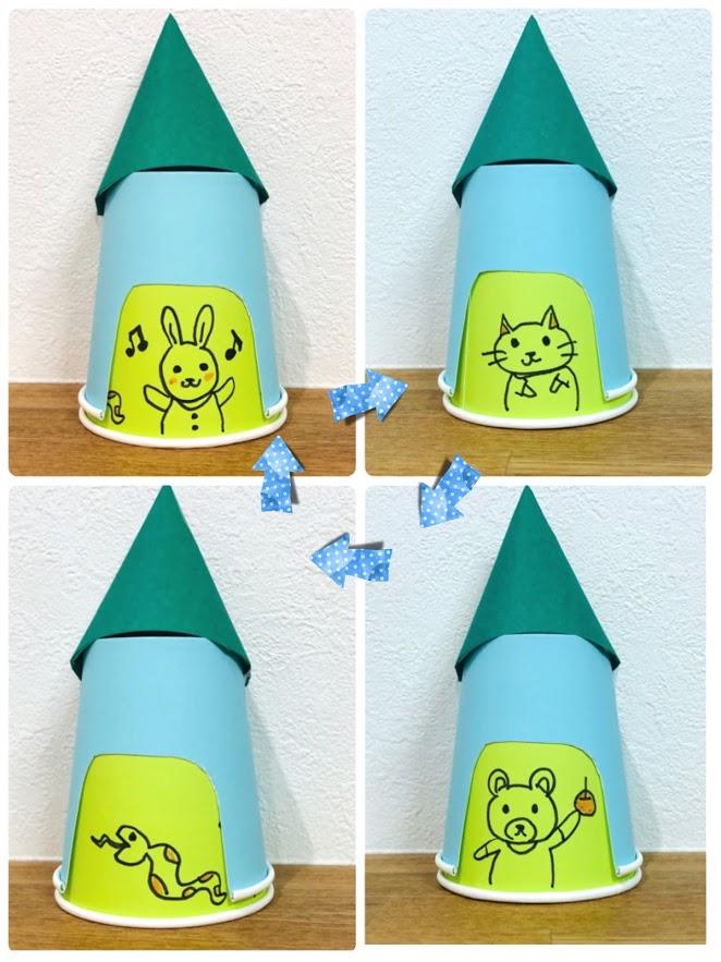 くるくる回して遊べる紙コップ工作のお家(4パターン変化)