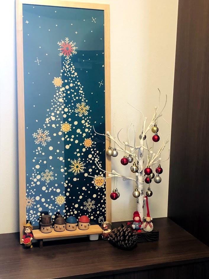 玄関インテリア*手ぬぐい額を入れ替え*クリスマス(にじゆら)